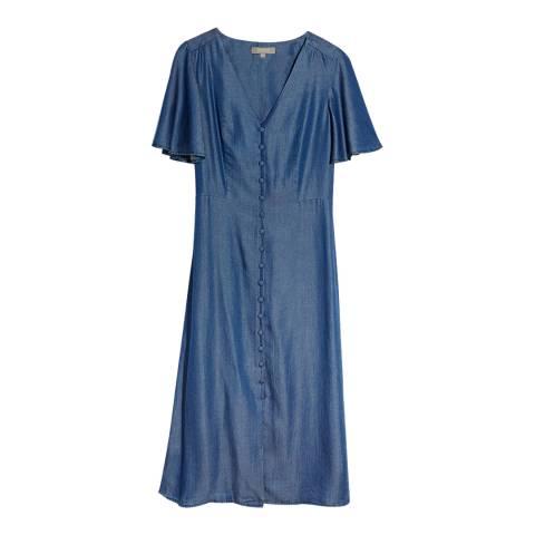 Oasis Blue Shirred Waist Midi Dress