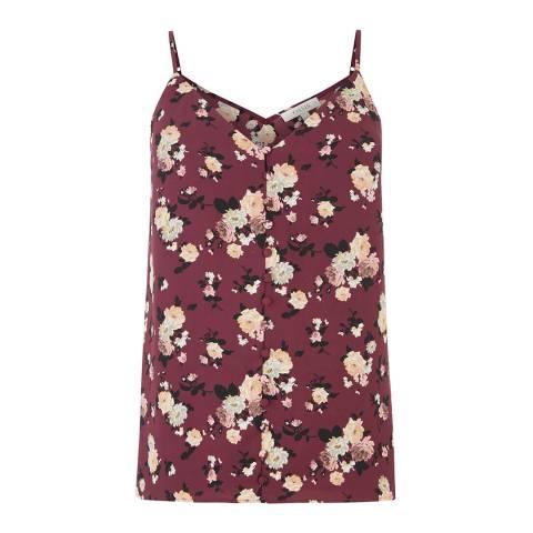 Oasis Burgundy Rose Button Cami Top