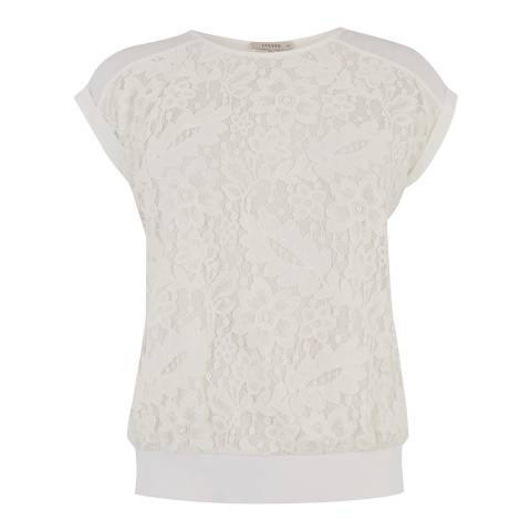 Oasis White Button Back Lace Tee