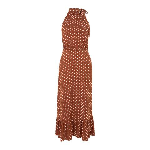 Oasis Brown Spot Halter Midi Dress