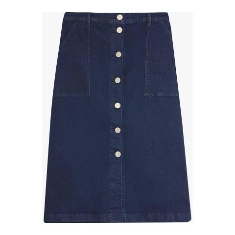 Oasis Blue Button Through Midi Skirt
