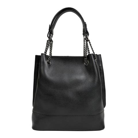 Isabella Rhea Black Leather Shoulder Bag