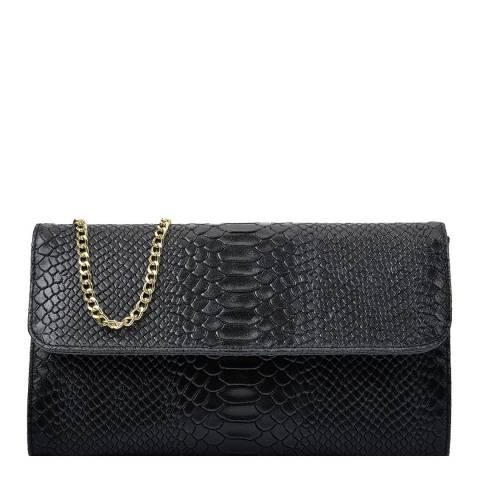 Isabella Rhea Black Leather Clutch