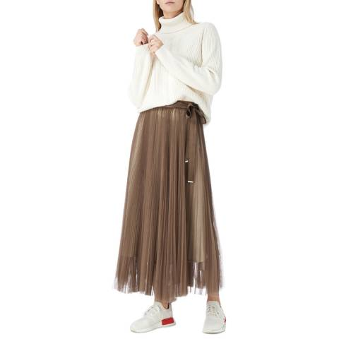 I.T.D Taupe Pleat Tulle Skirt