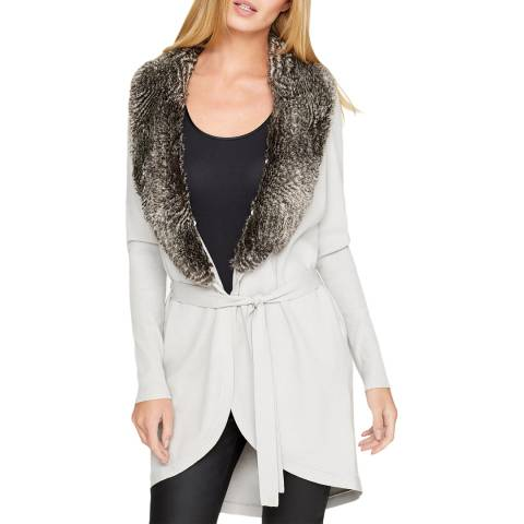 Damsel In A Dress White Faux Fur Collar Cardigan
