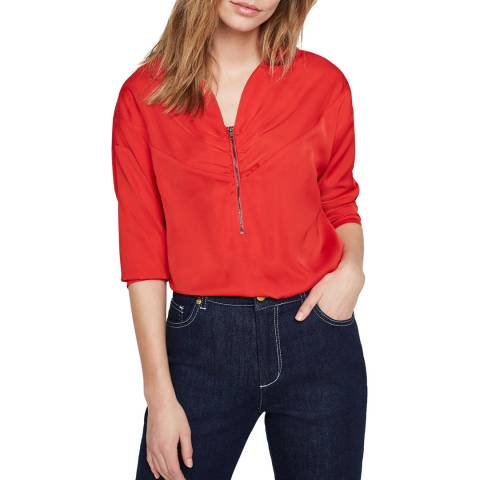 Damsel In A Dress Red Alessia Zip Blouse
