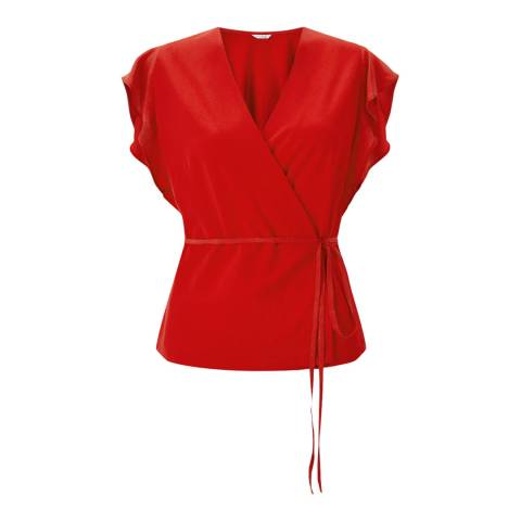 Jigsaw Red Wrap Jersey Tie Top