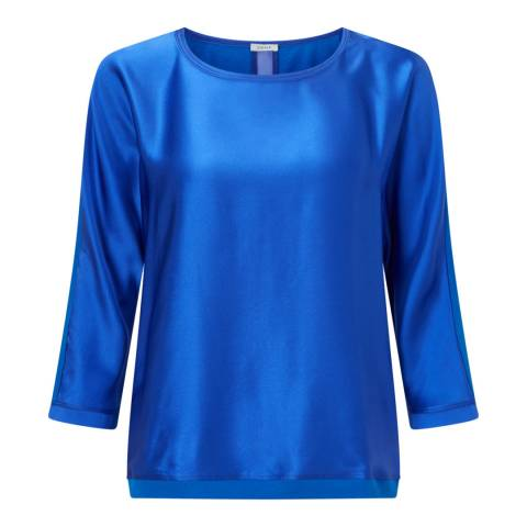 Jigsaw Blue Silk Batwing Top