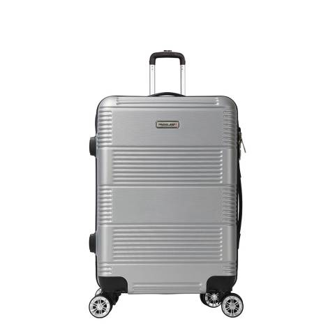 Travel One Silver 8 Wheel Cabin Suitcase 57cm