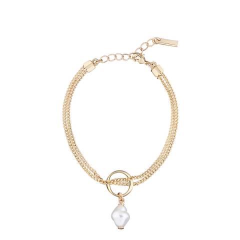 Karen Millen Soft Gold Modern Pearl Bracelet
