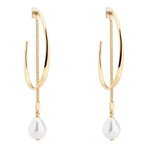 Karen Millen Soft Gold Modern Pearl Hoop Earrings