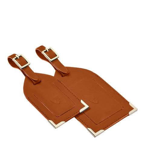 Aspinal of London Tan Smooth Set of 2 Luggage Tags