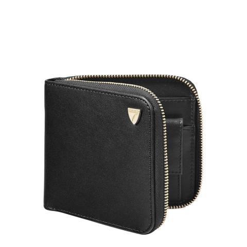 Aspinal of London Black Mount Street Zip Around Wallet