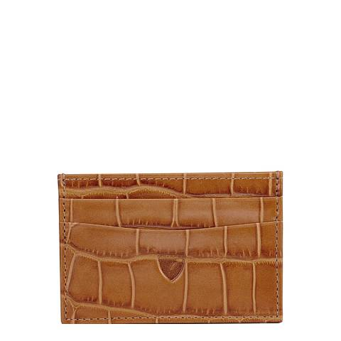 Aspinal of London Natural Brown Saffiano Slim Card Case