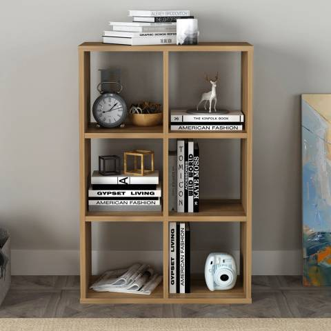 Vivense Cube Bookcase with 6-Shelves - Walnut