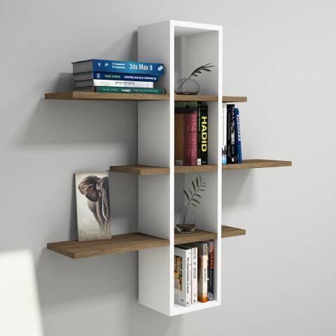 Vivense Ardo Wall Mounted Bookcase - Walnut & White