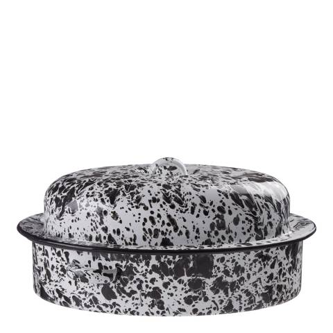 Premier Housewares Black & White Splatter Effect Hygge Oval Roaster
