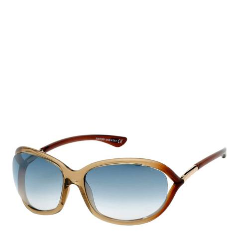 Tom Ford Women's Shiny Brown/Green Sunglasses 61mm