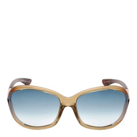 Tom Ford Women's Shiny Brown/Blue Sunglasses 61mm