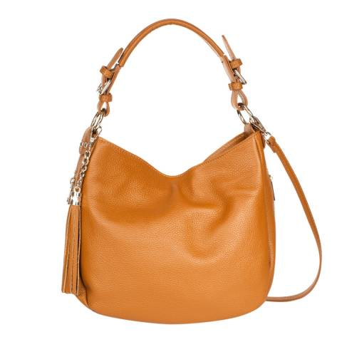 Massimo Castelli Tan Leather Top Handle Bag