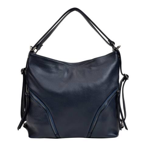 Isabella Rhea Navy Leather Shoulder Bag / Backpack