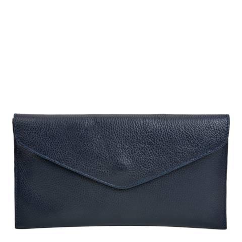 Isabella Rhea Navy Leather Clutch Bag