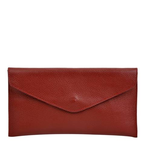Isabella Rhea Red Leather Clutch Bag
