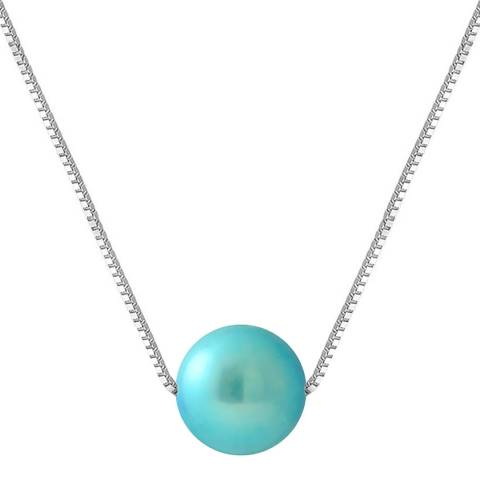 Manufacture Royale Turquoise Blue Round Pearl Necklace 9-10mm