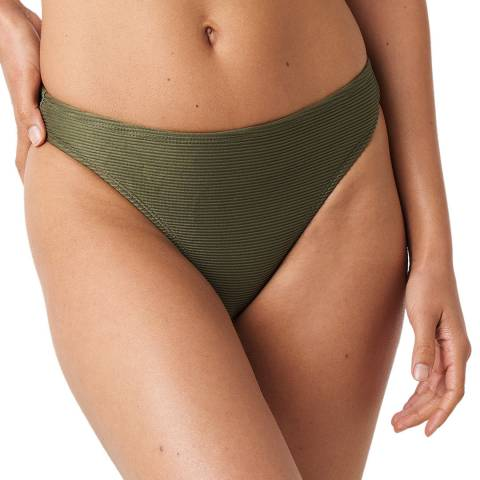 NA-KD Khaki Ribbed Sporty Bikini Bottom