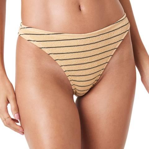 NA-KD Beige Smocked Striped Bikini Panty