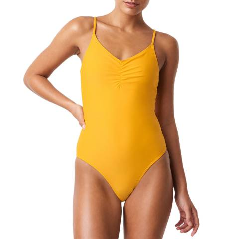 NA-KD Yellow Basic Front Ruched Swimsuit