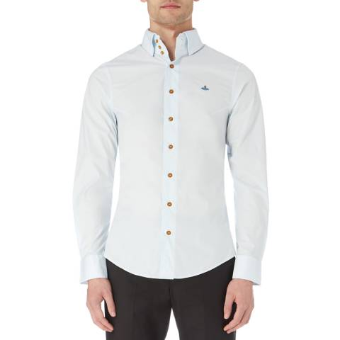 Vivienne Westwood Light Blue Krall Logo Cotton Stretch Shirt