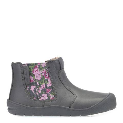 Start-Rite Grey Chelsea Floral Leather Boots