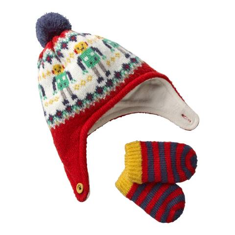 Boden Red Knitted Hat and Mittens Set