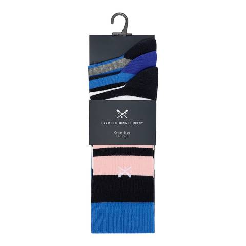 Crew Clothing Blue/Pink Stripe 3 Pack Mixed Socks