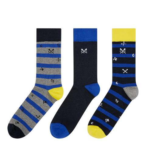 Crew Clothing Navy Stripe 3 Pack Mixed Socks