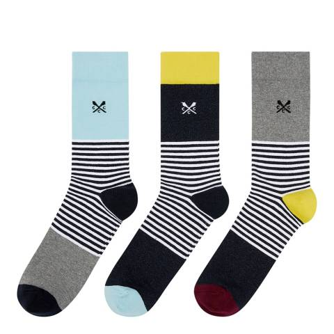Crew Clothing Black Stripe 3 Pack Mixed Socks