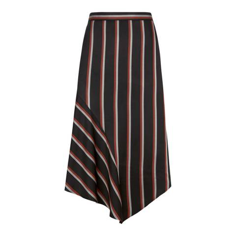 Mint Velvet Black Striped Asymmetric Skirt