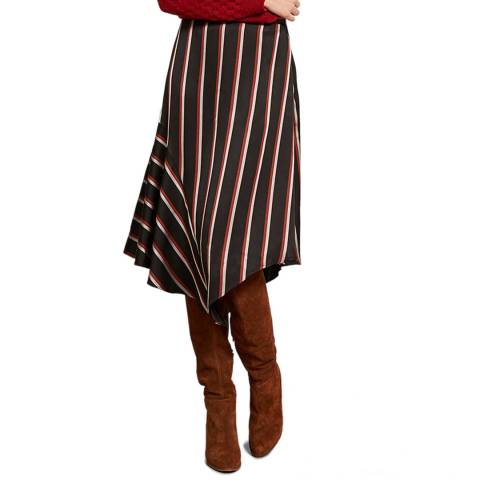 Mint Velvet Black Striped Asymmetric Skirt