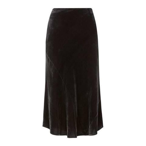 Mint Velvet Charcoal Velvet Midi Skirt