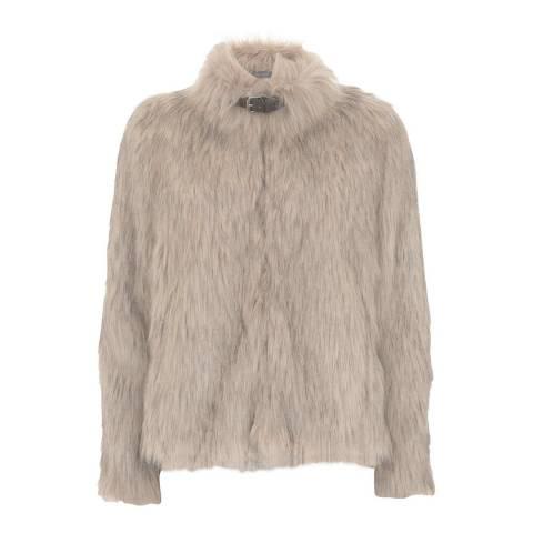 Mint Velvet Oatmeal Luxe Faux Fur Jacket