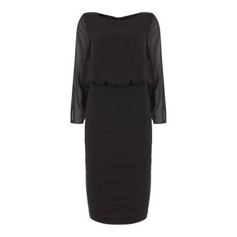Mint Velvet Black Long Sleeve Ribbed Dress