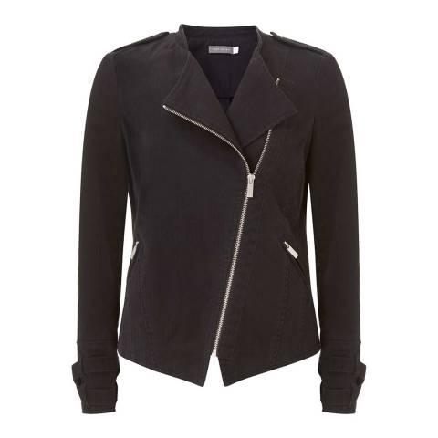 Mint Velvet Black Cotton Zip Biker Jacket