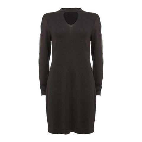Mint Velvet Black Metallic Knit Dress