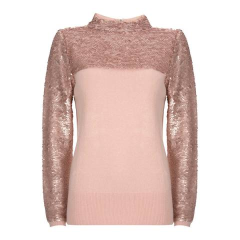 Mint Velvet Blush Sequin High Neck Knit