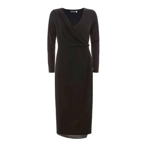 Mint Velvet Black Drape Layer Jersey Dress