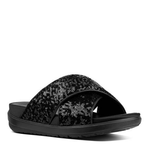 FitFlop Black Loosh Luxe Cross Sequin Slide