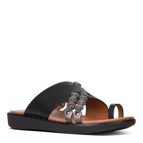 FitFlop Black Scallop Embellished Toe Thong Sandals