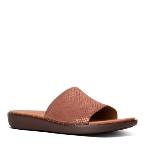 FitFlop Chocolate Brown Sola Metallic Snake Slide