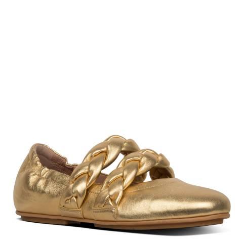 FitFlop Gold Allegro Braid Metallic MJ Ballet Flats